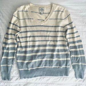 St. John's Bay Cream & Gray Striped V-Neck Sweater